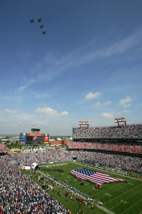NASHVILLE, TN - SEPTEMBER 18: The Blue Angels fly over the stadium before the game between the Baltimore Ravens and the Tennessee Titans on September 18, 2005 in Nashville, Tennessee. The Titans won 25-10. (Photo by Doug Pensinger/Getty Images)