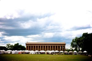 parthenon and tents